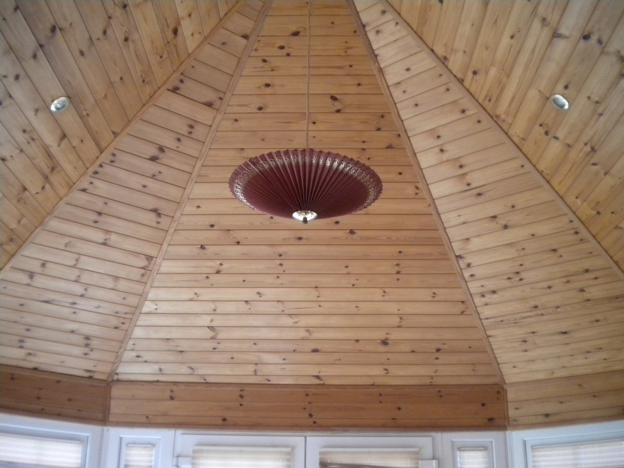 Timber ceiling in conservatory