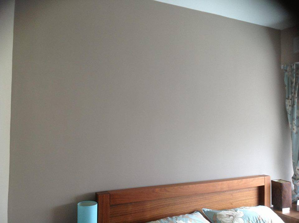 Fleetwood Vinyl Matt Roasted Almond. The accent wall was in taupe.