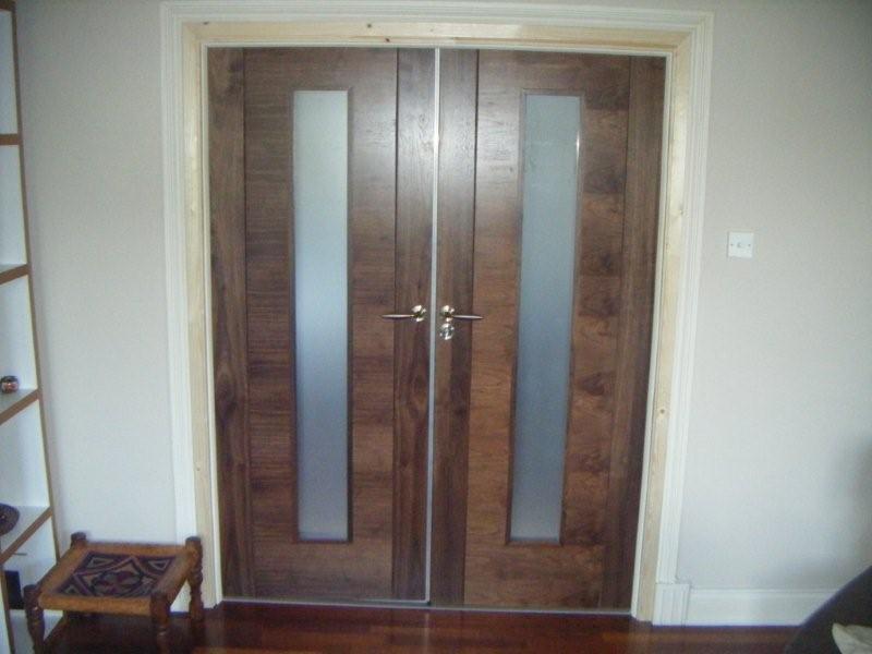 Glazed double fire doors.