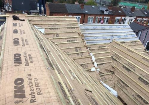 Roof Replacement Underway felting and latting