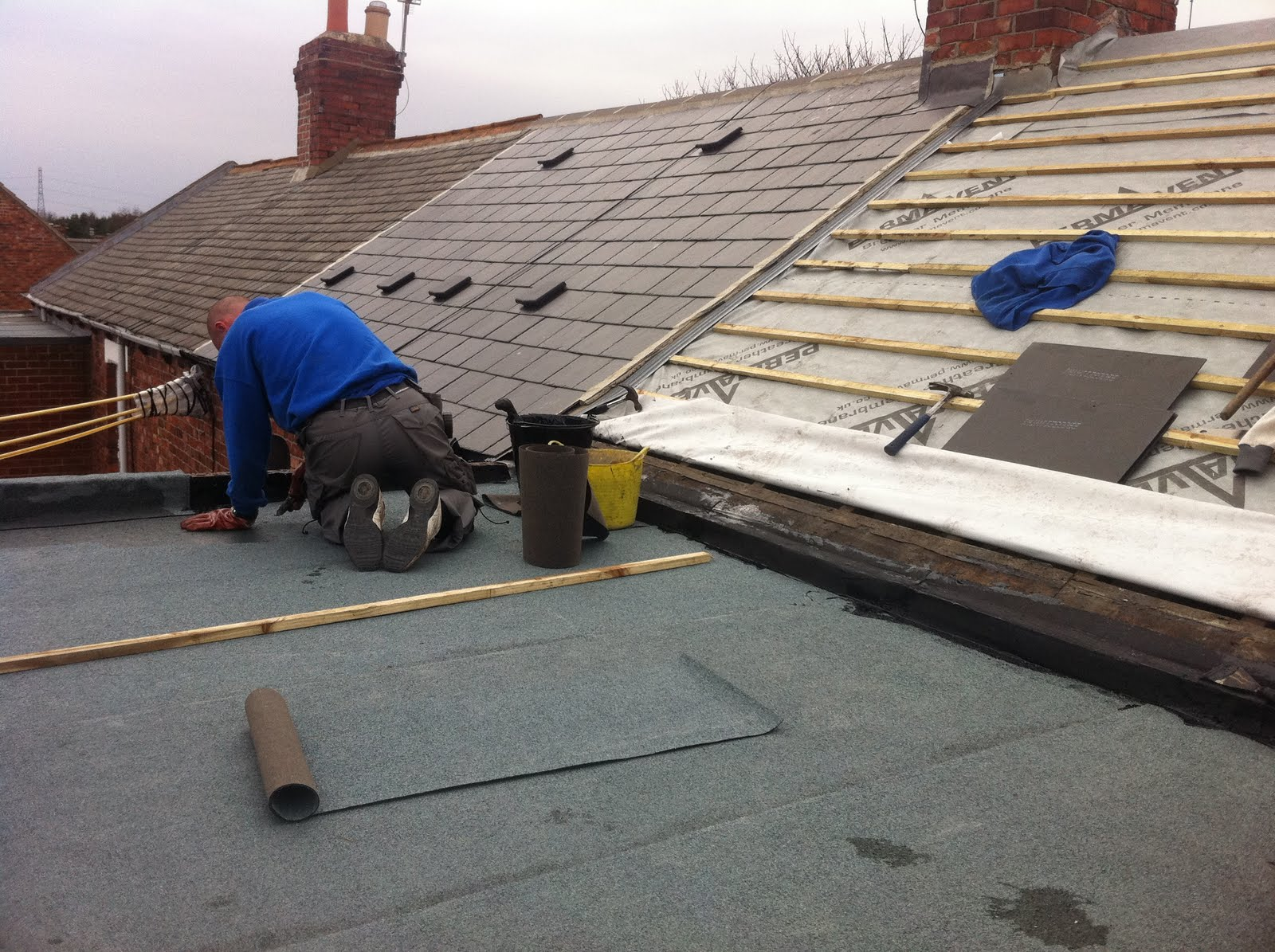 Flat Roof Re-felted & Main Roof Re-Tiled