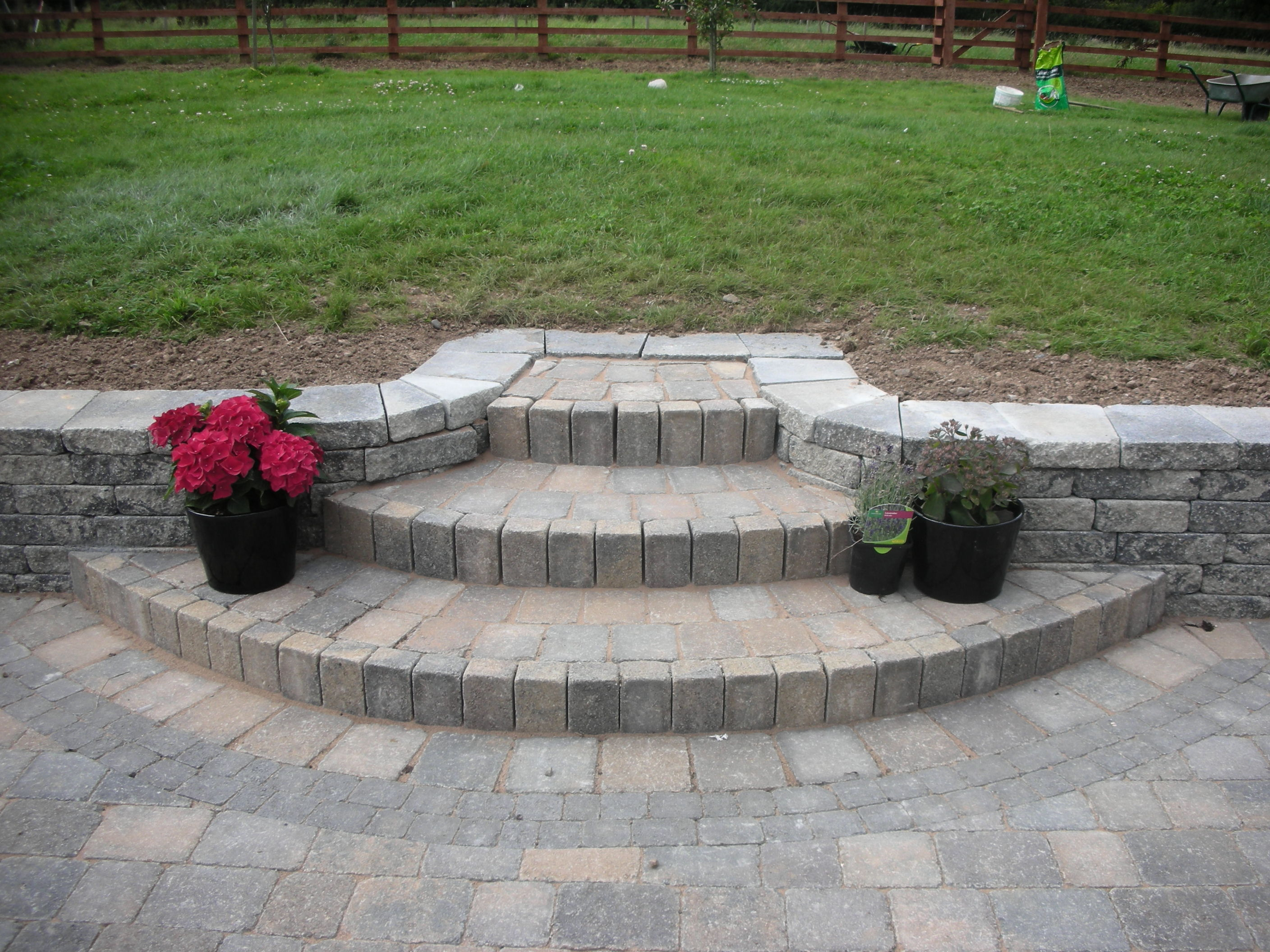 Brick paving with Steps & Walling -------