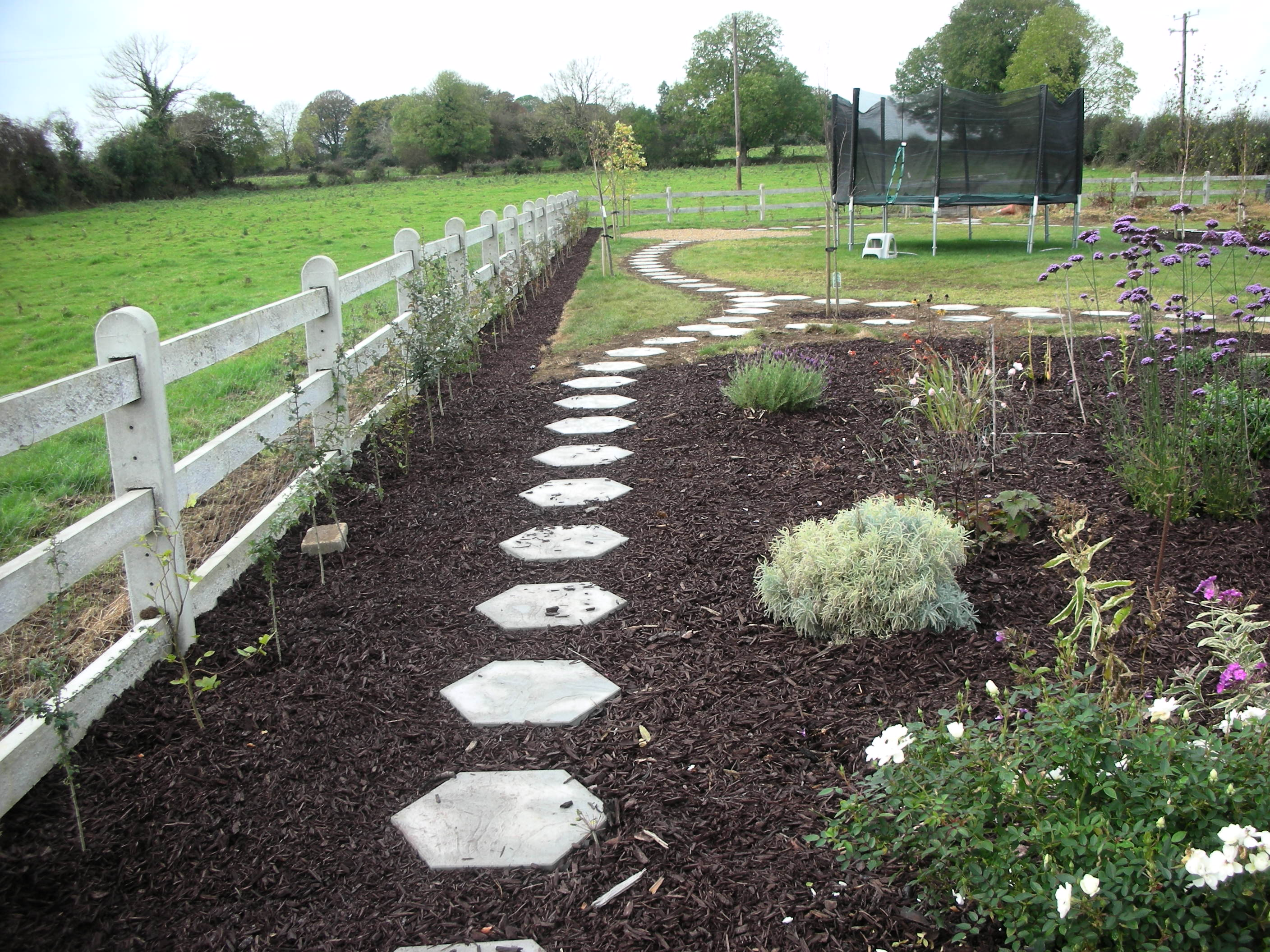 Use of step paving to create walkway through garden 