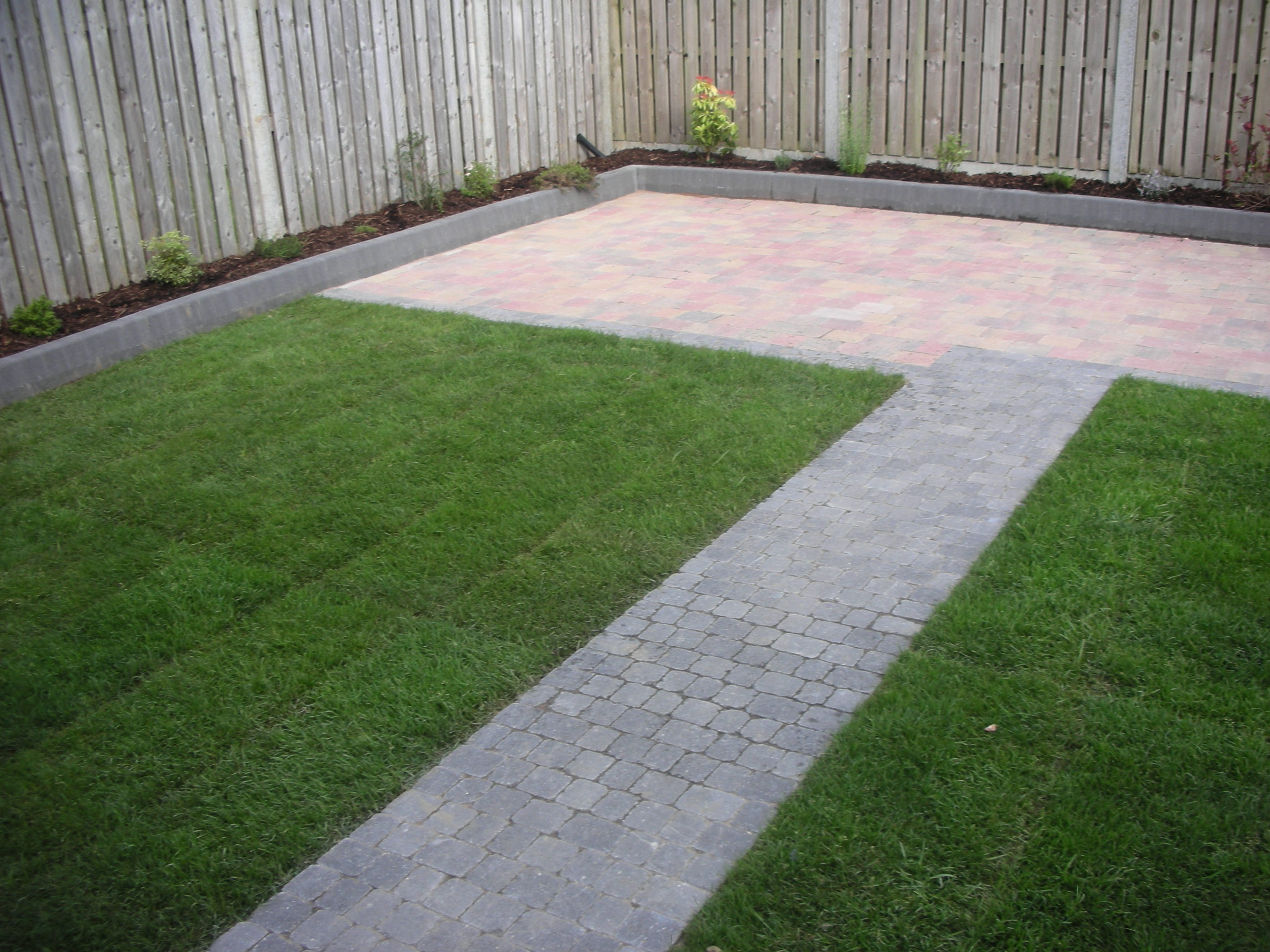 Paving with Path & Roll out lawn