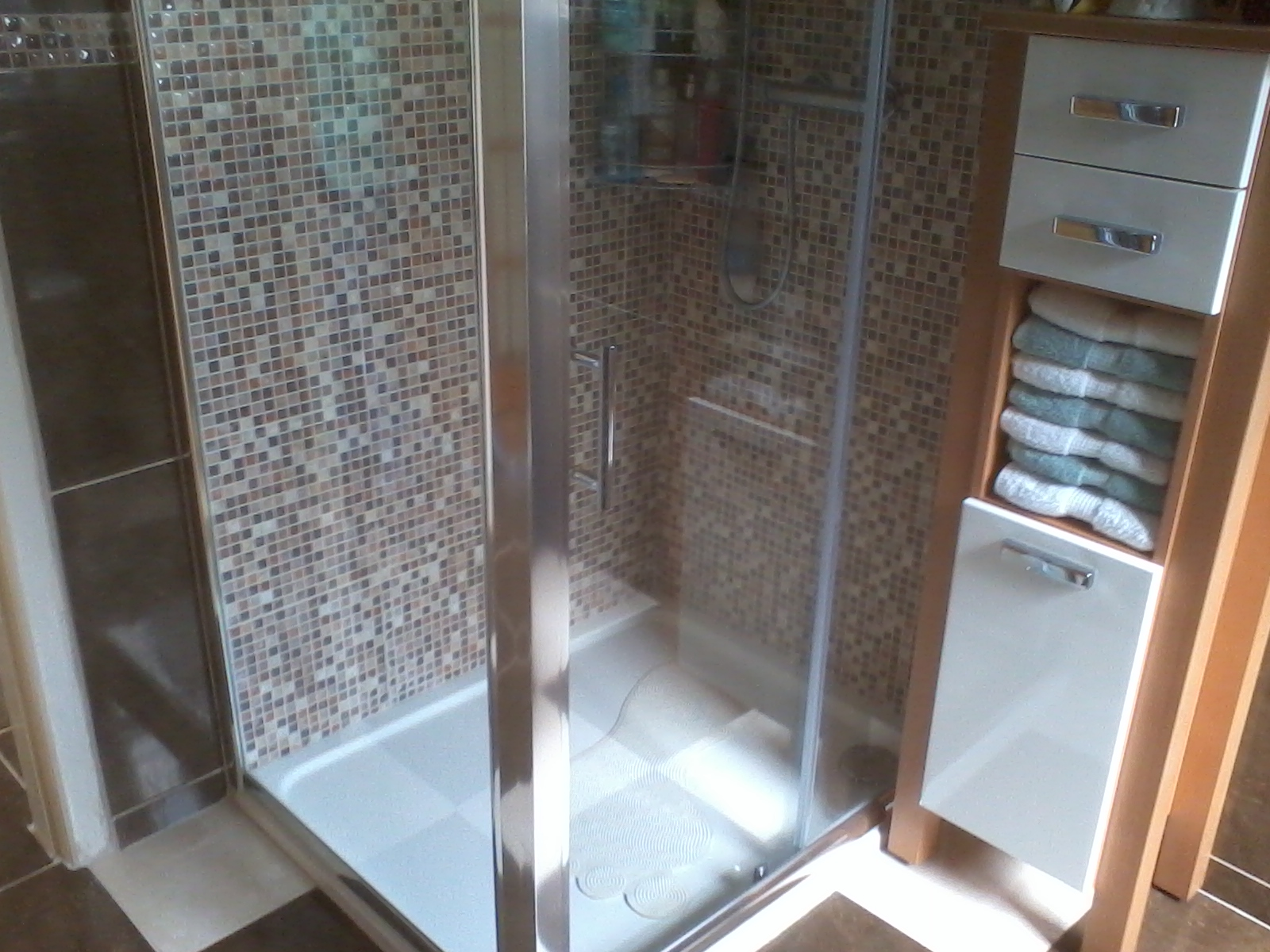 new shower enclosure, tiles,