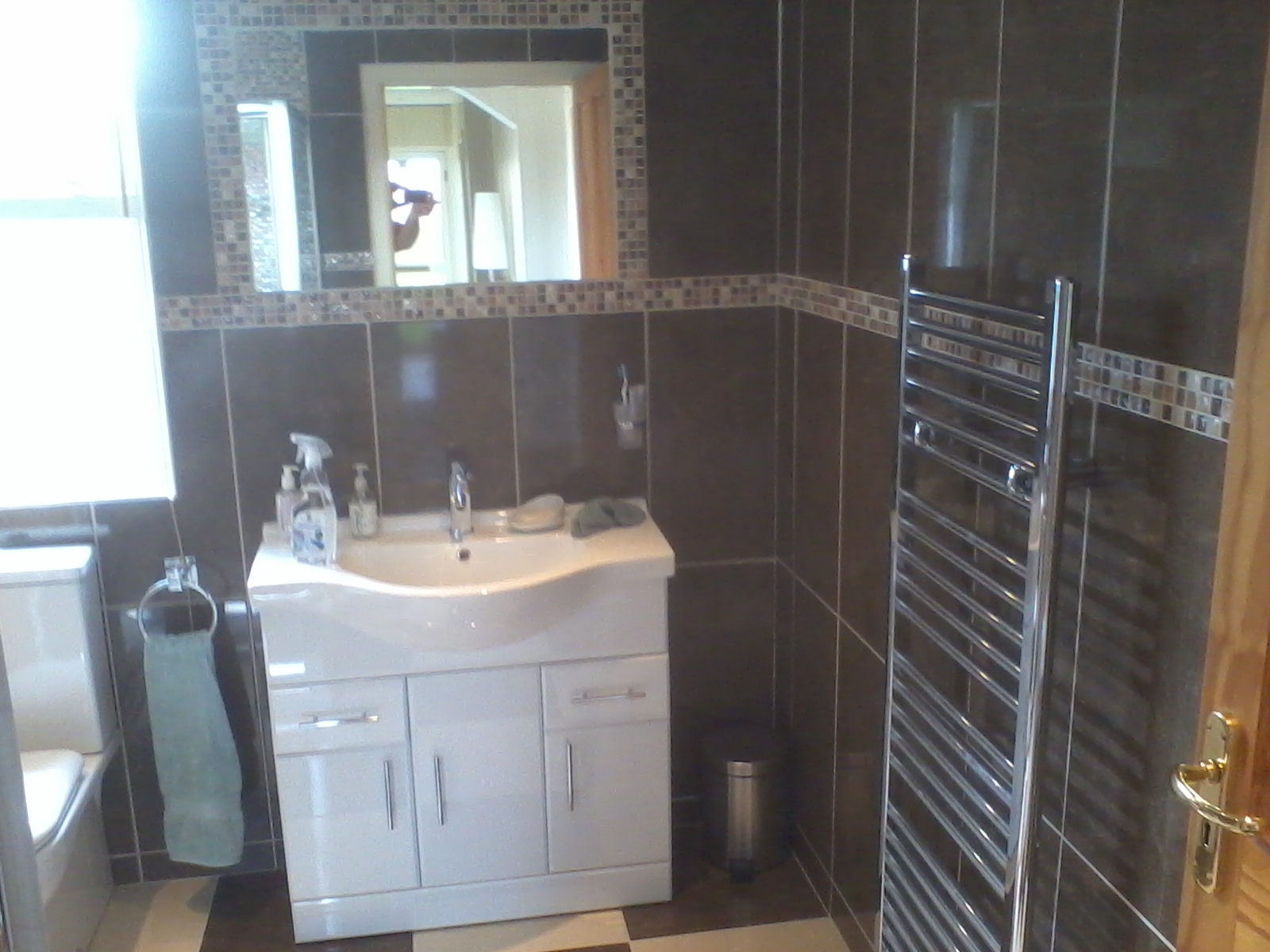 bathroom renovation, complete strip out re tile, new suite, towel rail, vanity unit, shower unit ,