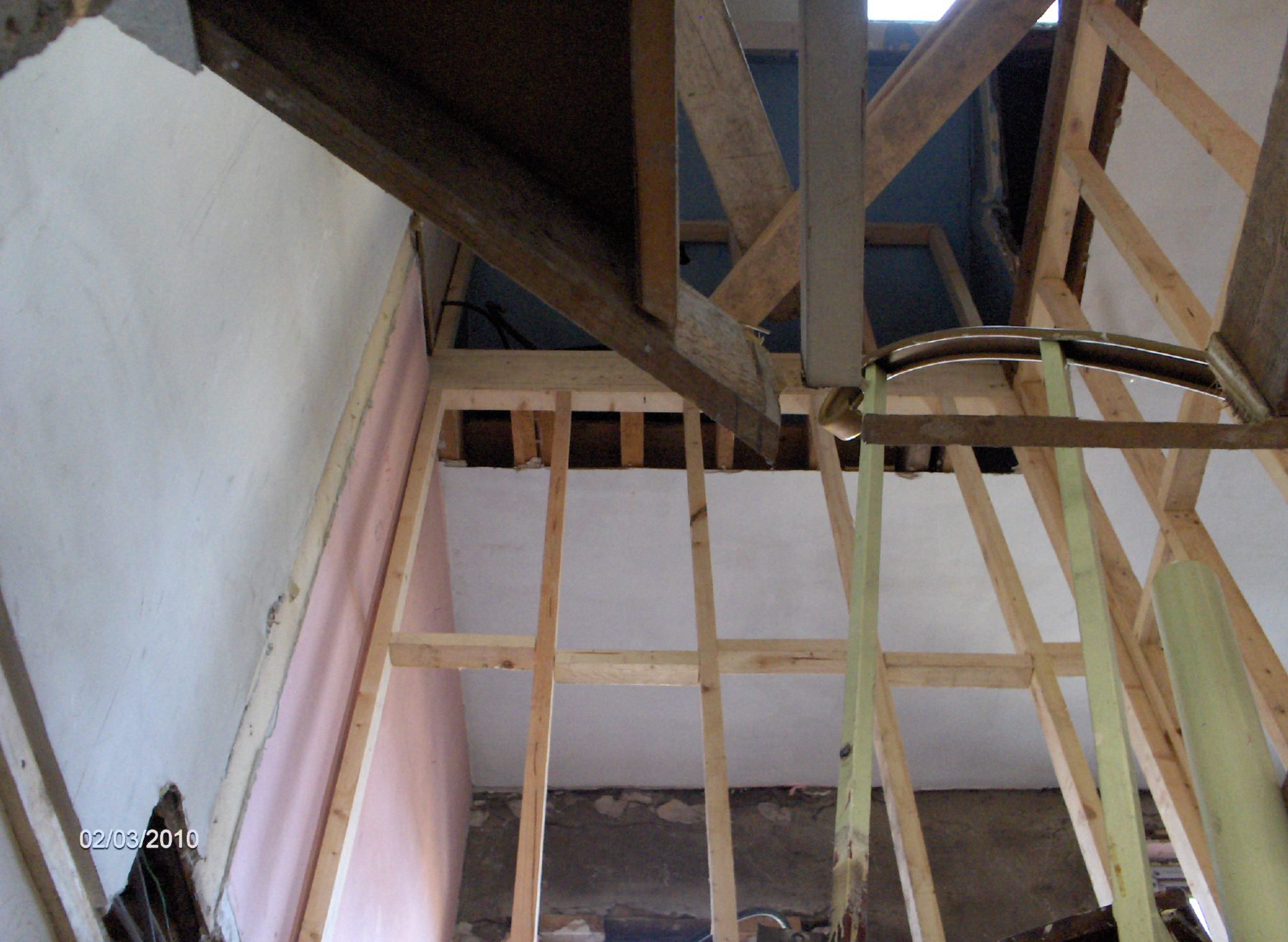 spiral stairs out,opening formed for new stairs