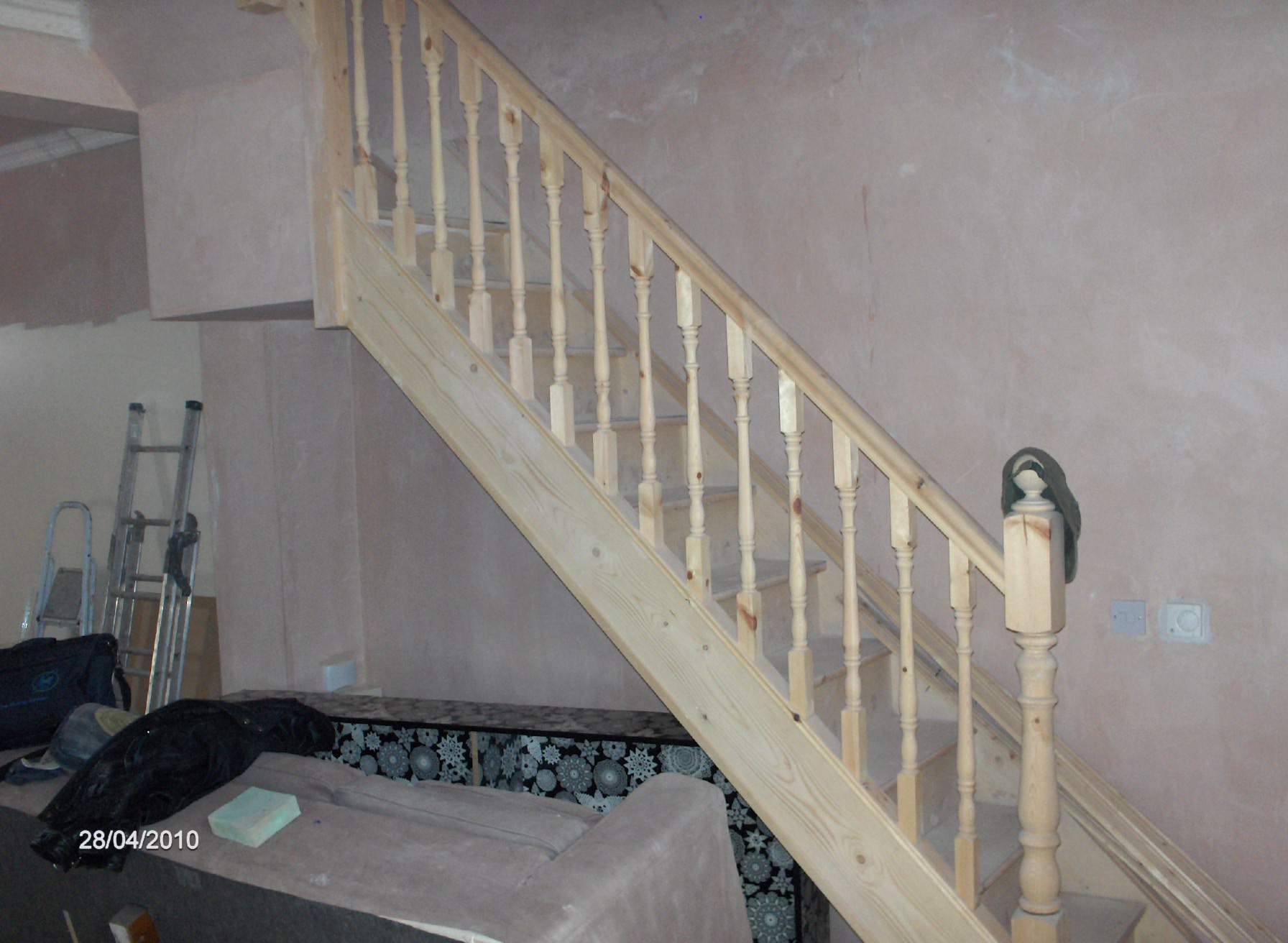The new staircase and handrail was installed,