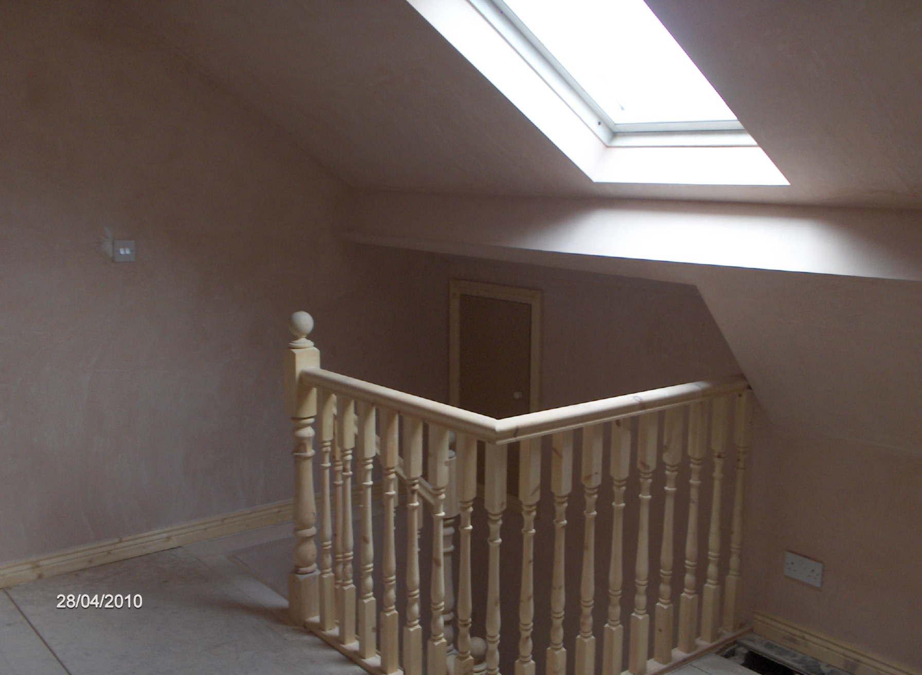 staircase was continued straight up into attic to allow use of attic as another room with downlighters installed,