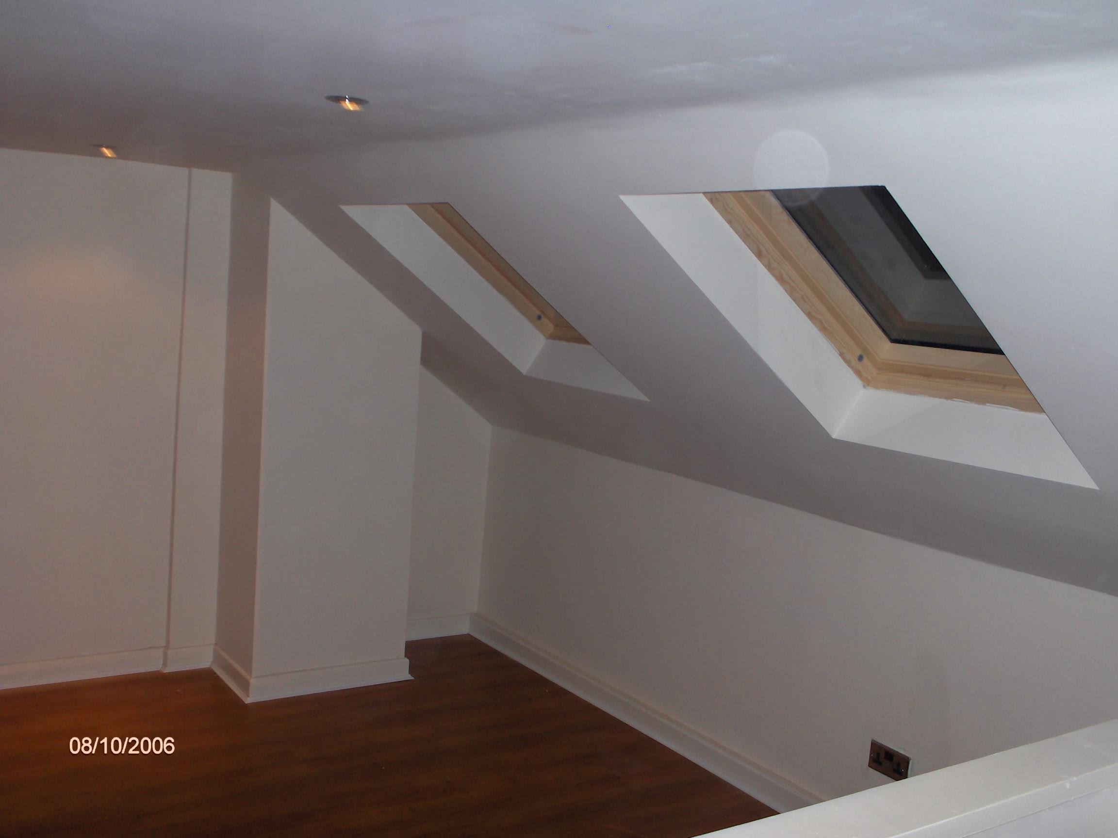 Attic conversions, plaster finish and 2 x velux windows.