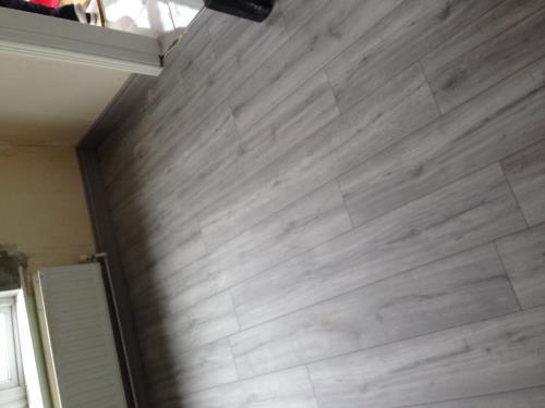 Grey laminated flooring