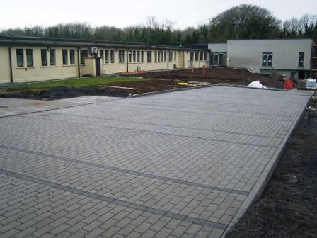 Permeable Paving, Natural & Raven Car park,