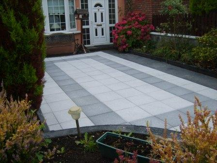 PATIO AREA: NEWGRANGE BLACK / SILVER GRANITE FLAGS