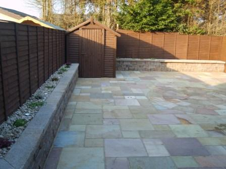 LANDSCAPED GARDEN: NATURAL STONE / CAMEL DUST RAISED BED WITH LIGHTS / SHRUBS / CONNEMARA WALLING