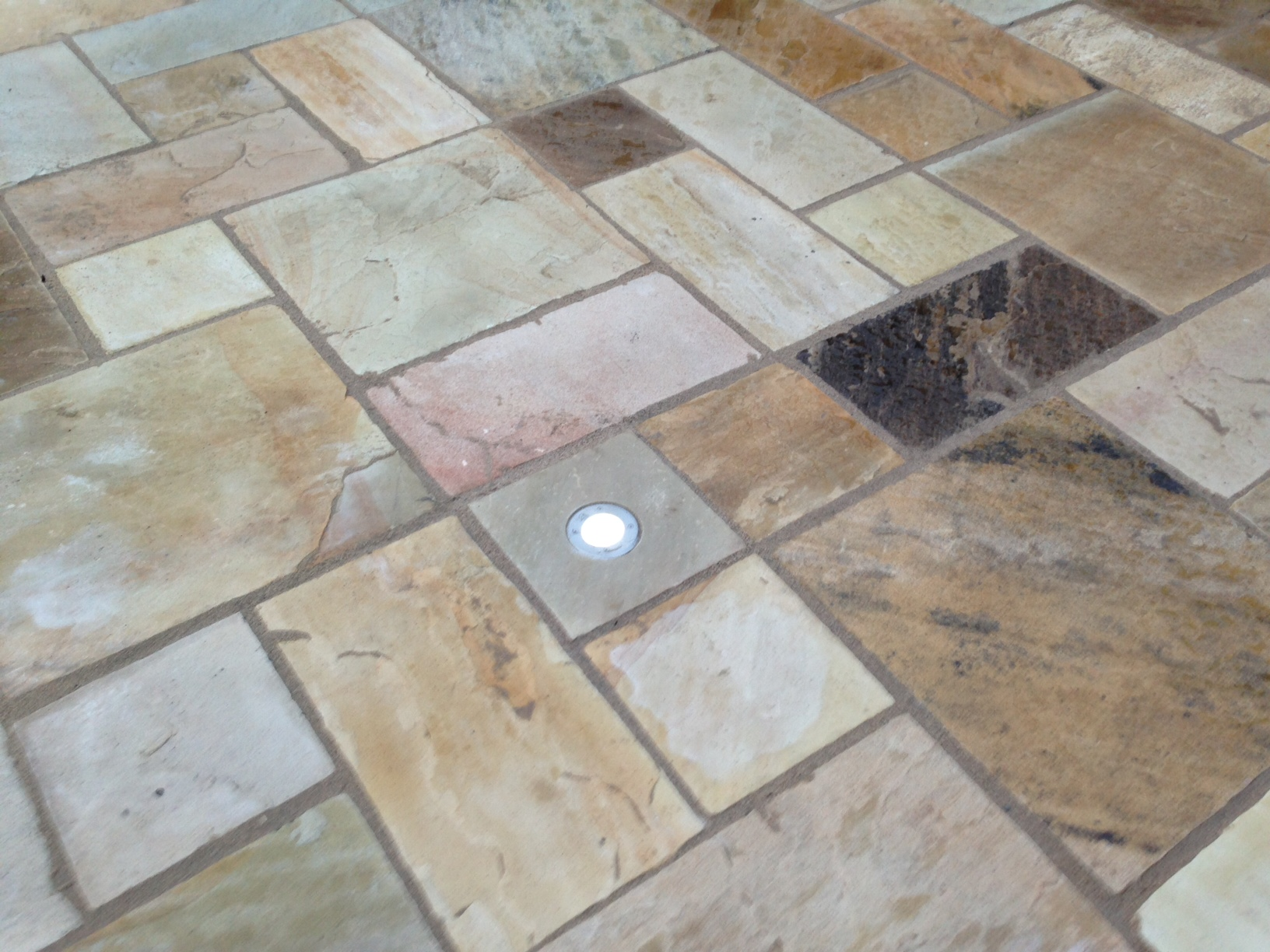PATIO AREA: TINTED MINT SANDSTONE WITH LED LIGHTS