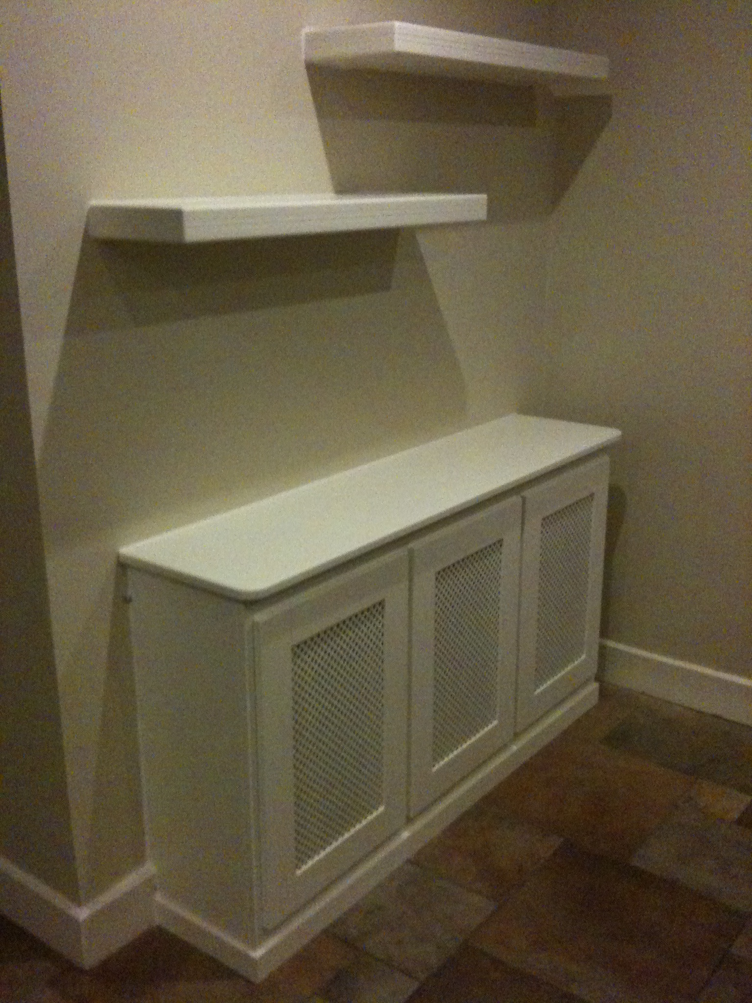 Radiator Cover With Doors To Front Also Floating Shelves Ivory Finish